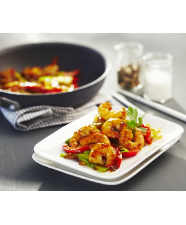 Queue de crevettes au thym citron, légumes du moment