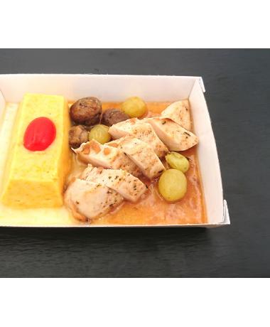 Filet de de poulet rôti jus aux raisins, duo de légumes et châtaignes en lingot