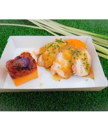 Filet de mignon de porc sauce au tandoori, mousseline de courge et pommes de terre