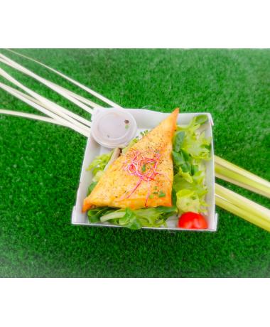 Brick gorgonzola et légumes verts, salade mélangée et vinaigrette